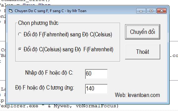 Chuyển độ C sang độ F