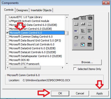 Thêm cổng COM vào visual basic