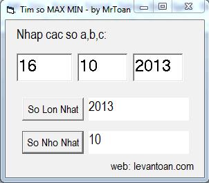 Tìm max, min của 3 số